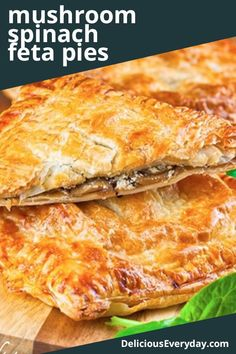 Need an easy vegetarian recipe that's fancy enough to serve at a dinner party? This is it. These mushroom, spinach, and feta pies are incredibly simple yet totally delicious. They're sure to be a hit with vegetarians and meat-eaters alike. Vegetarian Mushroom Recipes, Vegetarian Pie, Easy Vegetarian Dinner, Vegetarian Recipes Dinner, Veggie Recipes, Cooking Recipes, Greek Recipes, Pie Recipes, Spinach Feta Pie