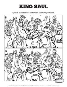 King Saul Kids Spot The Difference: These two illustrations from the story of King Saul may look the same, but they are not. Designed with stunning lesson artwork your kids will need to pay close attention to spot all the differences in this printable King Saul Sunday school Bible activity.