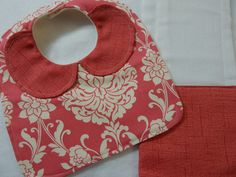 coral and cream bib and burp cloth****girls bib with peter pan collar and burp cloth****baby girls bib and burp cloth by JoonbugsBoutique on Etsy