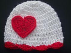 Crochet Baby Hat, Valentines Day, Newborn Crochet Hat, Infant Crochet Hat, Children, White, Red, Photo Prop, Gift. $12.00, via Etsy.