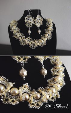 Seed Bead Necklace and Earrings, Ogalala Lace Necklace, Beaded Ruffle Necklace, Wedding Jewelry.