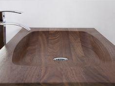 Wood Bathtub, Wood Sink, Wooden Bathroom, Narrow Bathroom Vanities, Bathroom Vanity Makeover, Sinks, Wooden Furniture, Bathroom Furniture, Cool Furniture