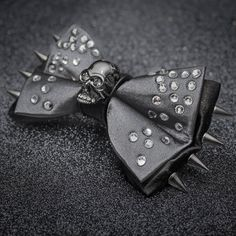 Gunmetal Skull and Rhinestones Bow Tie by JakeSimp on Etsy
