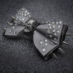 Gunmetal Skull and Rhinestones Bow Tie