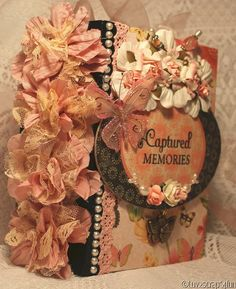 """CAPTURED MEMORIES"" any theme shabby premade scrapbook album"