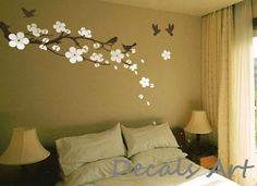 Plum Blossom Branch with Birds - Vinyl wall sticker- wall decal- tree decals- wall murals art - nursery wall decals- Floral-Nature