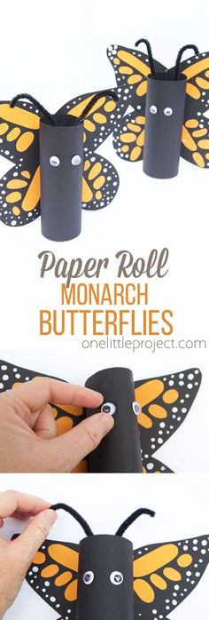 These paper roll Monarch butterflies are so fun for kids to make! They turn out so cute every time! butterfly project Paper Roll Monarch Butterflies - One Little Project Butterfly Project, Butterfly Crafts, Butterfly Art, Monarch Butterfly, Paper Butterflies, Toilet Roll Craft, Toilet Paper Roll Crafts, Diy Projects To Try, Projects For Kids