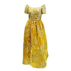 Oscar De la Renta Gold velvet , leather and beads brocade Gown | From a collection of rare vintage evening dresses at https://www.1stdibs.com/fashion/clothing/evening-dresses/