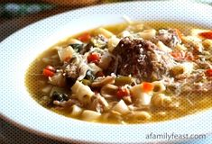 #vegetables #delicious #meatballs #escarole #italian #chicken #wedding #called #hearty #pasta #soup #with #also #and ... Italian Chicken Soup, Pasta Soup, Cheeseburger Chowder, Risotto, Vegetables, Ethnic Recipes, Wedding, Food, Valentines Day Weddings