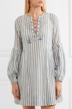 ULLA JOHNSON Helena striped cotton-gauze mini dress