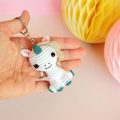 Kawaii unicorn keychain Amigurumi keychain animal Crochet
