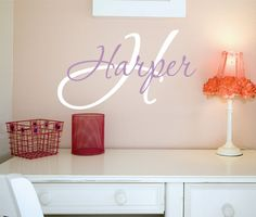Personalized Childrens Name Vinyl Wall Art  - Childrens Decor Baby Name Decal. $18.00, via Etsy.