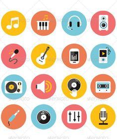 Flat Icons Vector Collection of Music Icons
