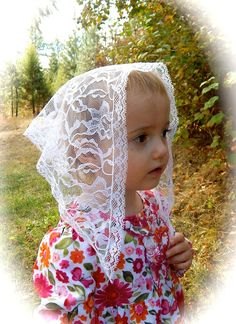 White lace Chapel Veil for children triangle shaped by ZeliesVeils