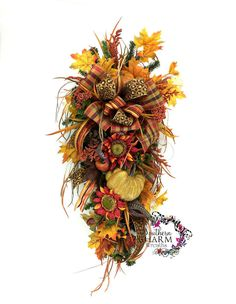 Fall Teardrop Swag Fall Decor Autumn Decor by SouthernCharmWreaths