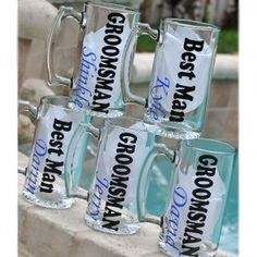 Beer Mug *Bridal Party* - Our Groomsman beer mugs are loved by the the bridal party! They are heavy 25oz. mugs. We can do the vinyl in any color and change the personalization in any way.