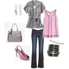 The allure of pink and gray. Paired with denim, this outfit is perfection.  :-)