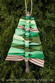 Scrap Ribbon Tree Ornaments are a beautiful, rustic, and perfect for Christmas! Enjoyed by www.mygrowingtraditions.com