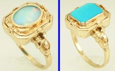 Antique Art Deco Opal Persian Turquoise 10K Gold Cocktail Flip REVERSIBLE Ring | eBay