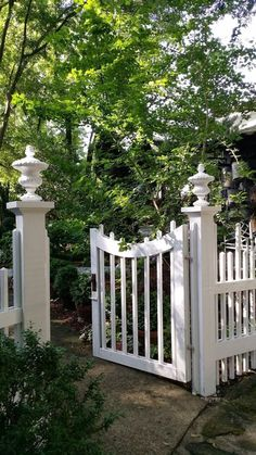 Front Yard Fence, Front Yard Landscaping, Landscaping Ideas, Front Yards, Garden Gates And Fencing, English Garden Design, White Picket Fence, Picket Fences, Garden Entrance