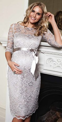 Amelia Maternity Dress Short (Silver Moonbeam) - Maternity Wedding Dresses, Evening Wear and Party Clothes by Tiffany Rose