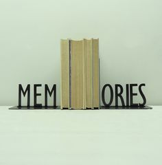 MEMORIES Text Metal Art Bookends - Free USA Shipping. $46.99, via Etsy.