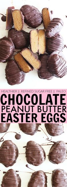 Healthier Chocolate Peanut Butter Easter Eggs are gluten free, refined sugar free and will spare you that dreaded sugar crash! With only a handful of simple, wholesome ingredients, you'll be handing these adorable eggs out like candy ;-)