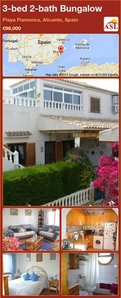 Bungalow for Sale in Playa Flamenca, Alicante, Spain with 3 bedrooms, 2 bathrooms - A Spanish Life Valencia, 3 Bedroom Bungalow, Portugal, Bungalows For Sale, Fitted Wardrobes, Alicante Spain, Family Bathroom, Private Garden, Double Bedroom