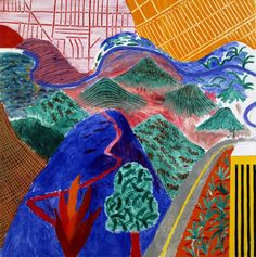 David Hockney, Outpost Drive, Hollywood, 1980. Acrylic on canvas, 60 x 60 in. Private Collection © David Hockney.