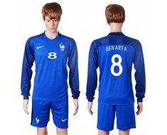 France #8 Benarfa Home Long Sleeves Soccer Country Jersey