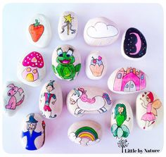Story Stones Ellie's World by LittlebyNature on Etsy Stone Painting, Rock Painting, Princess Painting, Painted Rocks, Hand Painted, Family Day Care, Story Stones, And So The Adventure Begins, Niece And Nephew