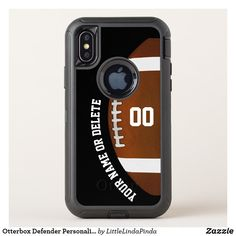 Otterbox Defender Personalized Football iPhone X Case or other phones case styles. CLICK: https://www.zazzle.com/z/ozui9?rf=238147997806552929 You, or Call Zazzle Designer Linda: 239-949-9090, to create a different case, sport phone case for older to the latest and greatest new football iPhone cases, Samsung or other devices. See more cool personalized football cases HERE: http://www.zazzle.com/littlelindapinda/gifts?cg=196532339247083789&rf=238147997806552929 Otterbox Defender iPhone X…
