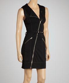 Another great find on #zulily! Black Zipper Belted Sleeveless Dress - Women #zulilyfinds