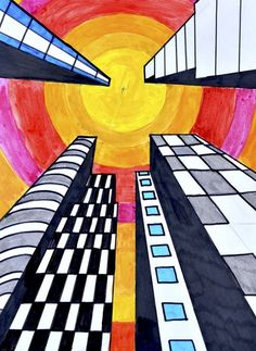 Buildings in one point perspective - Art Ed Central - - Buildings in one point perspective - Art Ed Central One Point Perspective, Perspective Art, Perspective Pictures, Perspective Building Drawing, Classe D'art, 6th Grade Art, Ecole Art, Art Lessons Elementary, Elementary Education