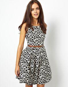 Skater Dress in Leopard Print