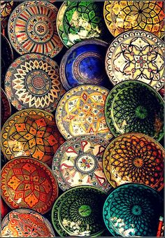 Hand painted Moroccan ceramic plates. Love the colors! #Moroccan #Ceramics #Plates.