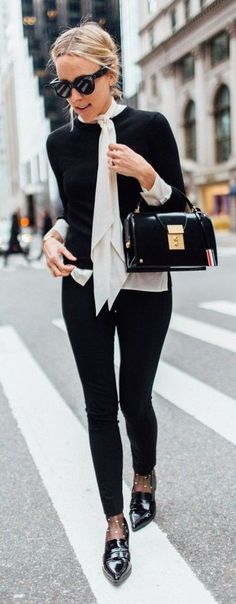 Whith a White Chic Choker, Black Sweter On Light White Blouse, Black Skinnies and Wright Black Pointy Chic Oxfords | Damsel In Dior