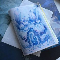 10/100: Crystal Cove #instaart #illustration #art #artistoninstagram #storefront #draw100somethings #design100somethings #sketchbook #mixedmedia #coloredpencil #copic #copicmarker #prismacolor #softpastel #crystal #crystals #gens #geodes #jewels #cove #blue #purple #pink #bianabova #visdev #conceptart #store