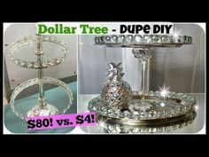DOLLAR TREE DIY Home Decor DUPE | 2 Tiered Tray Stand Glam Easy Craft - YouTube