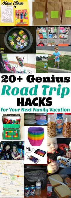 A MUST-save!!  20+ Genius Road Trip Hacks for your next family vacation!