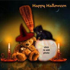 Happy Halloween Halloween Frames, Happy Halloween, Teddy Bear, Movie Posters, Animals, Painting, Art, Animales, Art Background