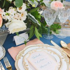 A coral and blue wedding inspiration board for a country chic wedding (image via Style Me Pretty)