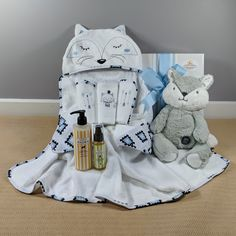 A beautiful baby boy gift! This Mr Fox hooded bath towel by Bubba Blue is just the gift a new baby boy will need for bath time, along with the matching set of 3 face cloth's a 250 ml bottle of Little Bairn Organic gentle baby bath wash and organic newborn massage oil as well as a gorgeous big hugs fox toy all presented in a white gloss gift box tied with matching ribbons Beautiful Gifts, Beautiful Babies, Gentle Baby, Fox Toys, 3 Face, Hooded Bath Towels, Mr Fox, Big Hugs, New Baby Boys