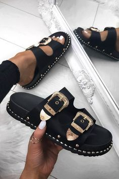 fashion shoes LULU Black Buckle Slider With Gold Detail Cute Sandals, Cute Shoes, Me Too Shoes, Shoes Sandals, Heels, Crazy Shoes, Sneakers Mode, Shoes Sneakers, Sneaker Outfits