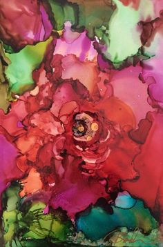 A gorgeous 4 inch Original, hand-painted using alcohol ink on Yupo paper. This is my abstract interpretation of a Rose that includes lots of Alcohol Ink Crafts, Alcohol Ink Painting, Alcohol Ink Art, Pintura Graffiti, Silk Painting, Art Plastique, Art Lessons, Flower Art, Watercolor Paintings