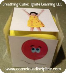 Dollar Store Cubes made into a game to help children practice Conscious Discipline breathing techniques.