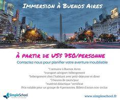 Envie de dépaysement?  Venez pratiquer l'Espagnol d'outre-mer en Argentine! Hasta luego! www.simpleschool.fr  #SimpleIsCool #imersãosimple #simplespañol #buenosairesimple
