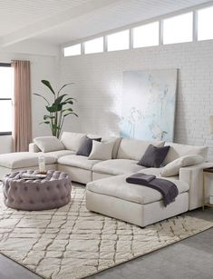 White Sectional Sofa, Modular Sectional Sofa, Living Room Sectional, Modern Sectional, Living Room Furniture, Living Room Decor, Modern Furniture, Contemporary Sofas And Sectionals, Beige Sofa Living Room