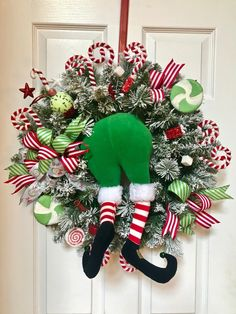 Deco Mesh Wreath Xmas Decor Candy Cane Form Elf Peppermint Happy New Year Christmas Wreaths To Make, Christmas Door Decorations, Christmas Centerpieces, Holiday Wreaths, Christmas Projects, Candy Cane Decorations, Table Decorations, Holiday Decor, Diy Christmas Arrangements