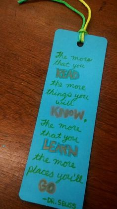 Bookmarks. I provided quotes that they could copy if they wanted